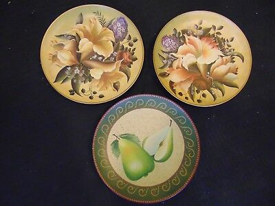 Set of 3 home interior decorative plates floral and fruit decoration pears