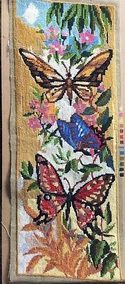 Fab Retro Completed Tapestry Butterflies & Flowers design Upcycle Craft Reuse
