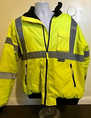 M-Safe High Visibility Jacket Bright Yellow Reflective Strips Men Size XL Hood