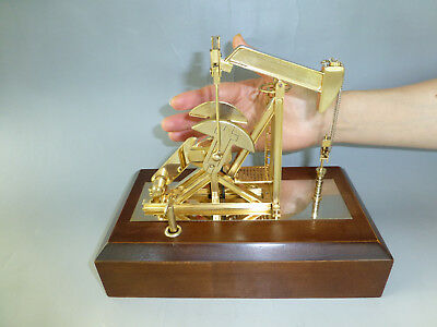 Rare Vintage Crude Oil Pump Music Box Automaton Gilt Gold Pump (Watch The Video)