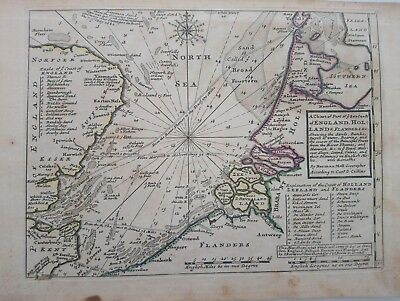 1732 Herman Moll A Chart of Part of Sea Coast of England, Holland & Flanders Map