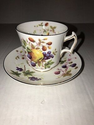 Royal Chelsea Fine China Fruits Teacup and Saucer England