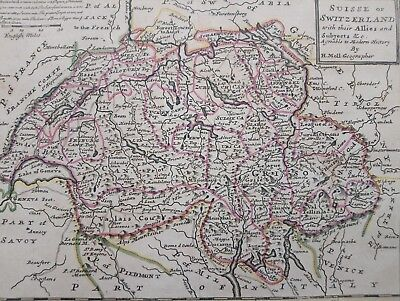 1732 Herman Moll Mapa Suisse or Switzerland with their allies Map Suiza Svizzera