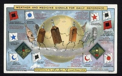 MEDICINE BOTTLES dancing AYER & Co. trade card WEATHER Nautical SIGNAL FLAGS