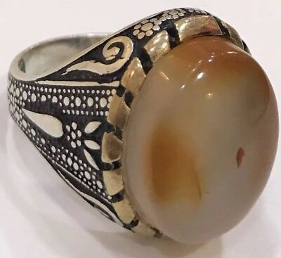 Silver Yemeni Multi-Color aqeeq agate Men Ring, aqiq, Yemen akik, عقيق يماني