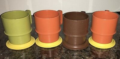 Vintage Tupperware Harvest 4 Stackable Coffee Mugs Cups Coasters