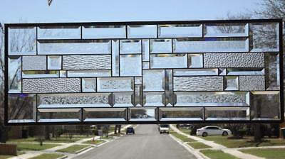 """• Clear Reflection's •Beveled Stained Glass Window Panel • 36 ¾""""x 13 ¾""""(93x35Cm)"""