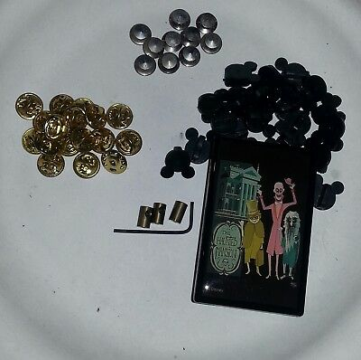 Disney locking pin backs +Mickey icon rubber pin backs and Haunted Mansion Box