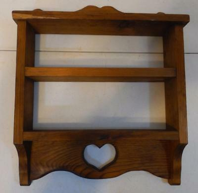 DECORATIVE STAINED 2 Tier Homemade Wood Shelf With Cut Out Heart ...
