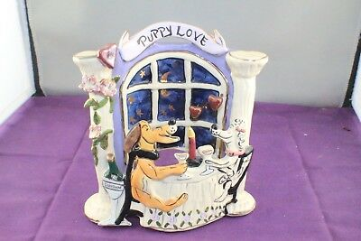 Blue Sky Clayworks 2003 Heather Goldminc Puppy Love Scene Tea Light Holder BOXED