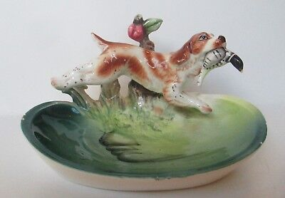 Vintage Springer Spaniel Pheasant Hunting Dog Figure Figurine Dish Japan