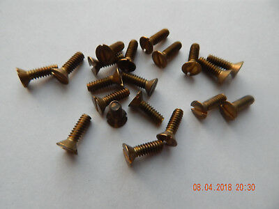 "BRASS FLAT HEAD SLOTTED MACHINE SCREWS 10/24 x 5/8""  20 PCS. NEW-NOS"