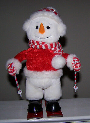"""12"""" Tall Musical & Animated Snowman Skier From T.l. Toys - Wonderful Condition!!"""