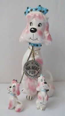 Vintage Kreiss Chained Pink Dog  Mom & Puppies   Park Avenue Poodle Tag