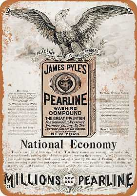 """7"""" x 10"""" Metal Sign - 1895 Pearline Washing Compound - Vintage Look Repro"""