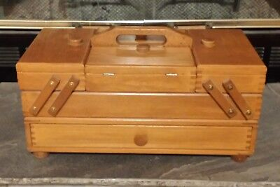 Vtg Mini Wooden Fold Out Accordion Style Sewing Box
