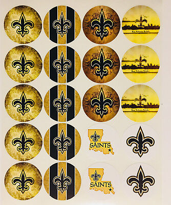 """SET of 20- 2"""" NEW ORLEANS SAINTS Adhesive Stickers. Make Cupcake Toppers!"""