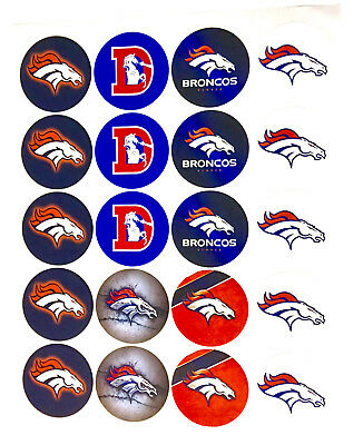 """SET of 100- 2"""" DENVER BRONCOS ADHESIVE STICKERS.Make Cupcake Toppers!"""