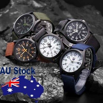 Mens Outdoor Date Stainless Steel Military Sports Analog Quartz Army Watch AU