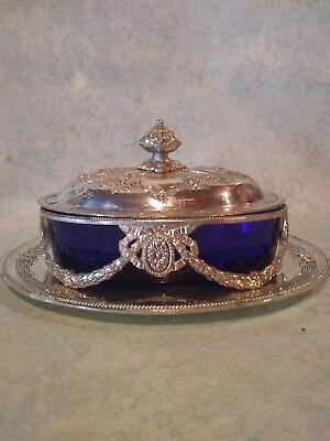 Japanese Blue Glass And Silver Butter Dish