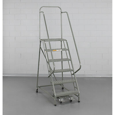 """EGA L007 Steel Industrial Rolling Ladder 5-Step, 16"""" Wide Perforated, Gray, 450"""