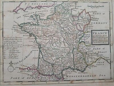 1732 Herman Moll Mapa Carte Map France Divided into all its Provinces Francia