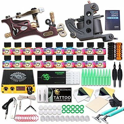 Professional Great tattoo Starter Tattoo Kit Machines 20 Color Inks Top CE
