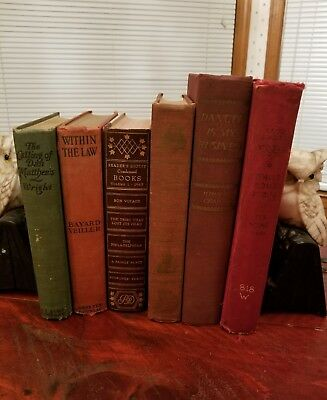 Lot of 6 Books Old Rare Vintage Collectible Decorative Classic HC Distressed