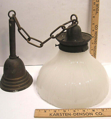 Antique Vintage Brass Ceiling Fixture W/opalux Opaque Fluted Glass Shade 30""