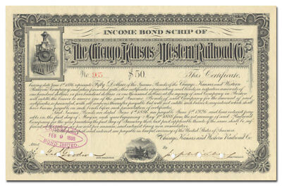 Chicago, Kansas and Western Railroad Co. Bond Certificate (1888)