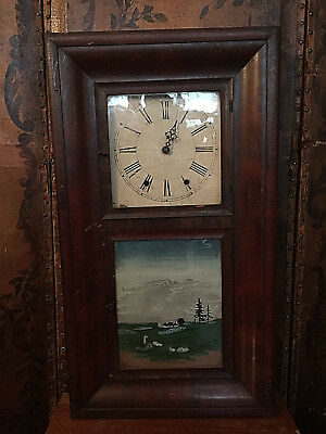 Antique/vintage Hand Painted Heavy/ Mahoganey Wall Clock In Need Of Repair