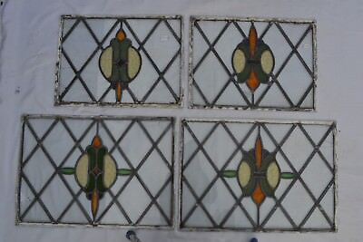 4 heraldic leaded light stained glass windows panels S294. FOR RESTORATION