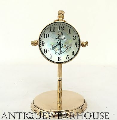 Solid Brass Working Clock Handmade Nautical Desktop Clock Vintage Decorative