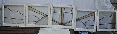 5 Art deco sunray English leaded light stained glass window panels. B758 SET 1.