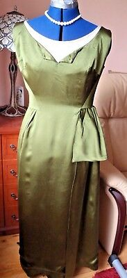 Green Satin And Pearl Vintage Beaded Cocktail Evening Dress Size 14