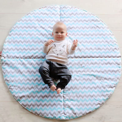 Baby Cotton Round PLAY MAT Reversible Machine Washable - BLUE OR YELLOW CHEVRON