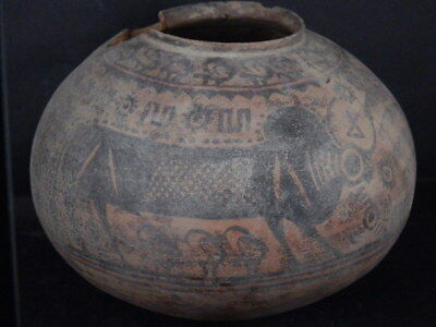 Ancient Large Size Teracotta Painted Pot With Bulls Indus Valley 2500 BC #Ik835