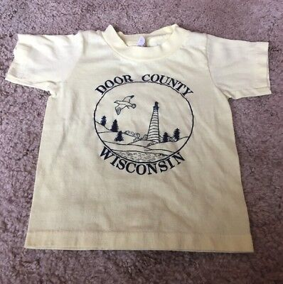 Vintage 1980s Toddler Yellow Black Door County Wisconsin Tourist Shirt
