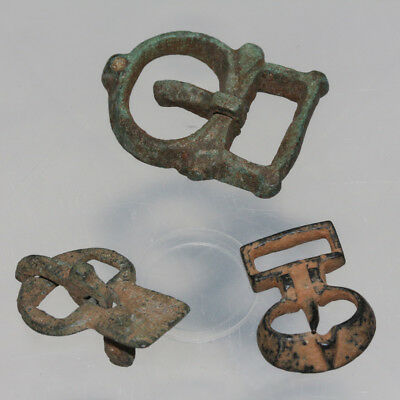 Lot of 3 Ancient Roman And Byzantine Bronze Belt Buckles