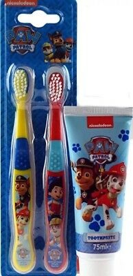 Boys Girls Paw Patrol Childrens 75ML Toothpaste + 2 Toothbrushes Kids Wash Care