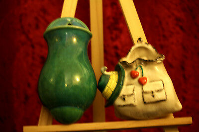 Two Vintage Ceramic Vase Dry Flower Holders Wall Hanging