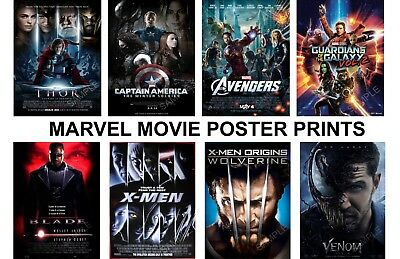 Marvel Movie Posters A3 or A4 High Quality Prints