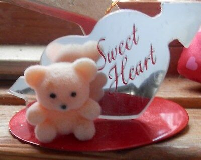 Vintage Avon Sweet Heart Valentine Ornament With Little Bear