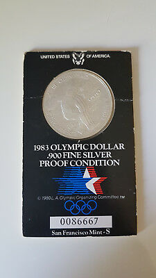 Münze 1983 Olympic Dollar 900 Fine Silver San Francisco  Mint - S