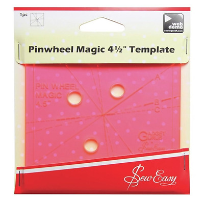 Sew Easy patchwork quilting ruler pinwheel magic template 4.5 inches square