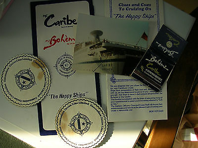 vintage cruise ship MS CARIBE photograph, empty matchbook, itinerary, coasters