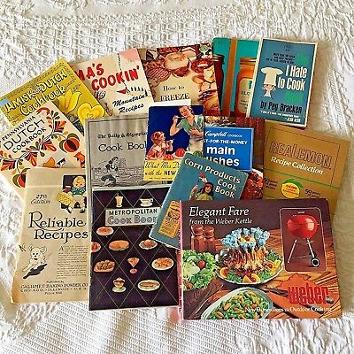 Vintage Lot of 14 Cookbooks Booklets Weber Campbell Ball Dutch Amish Jello Corn