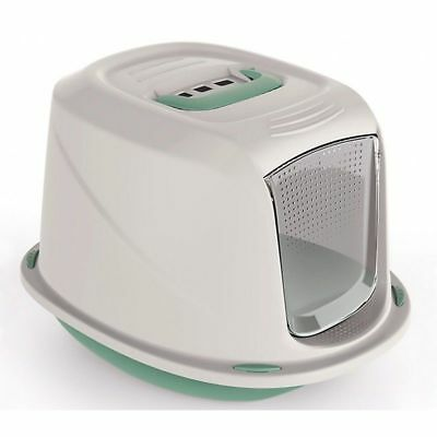 GALAXY Green Hooded Pet Cat Kitten Litter Tray Box Carry Handle Filter by 4-Pets