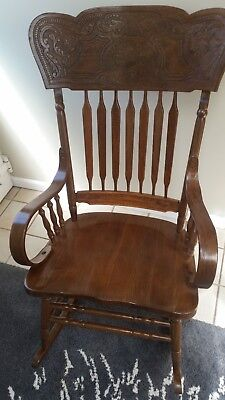Excellent Vintage Carved Wooden Rocking Chair Made In Yugoslavia Ocoug Best Dining Table And Chair Ideas Images Ocougorg
