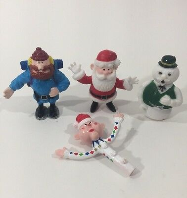 Lot of 4 Rudolph The Red Nosed Reindeer PVC Toy Mini Figures Misfits Cornelius